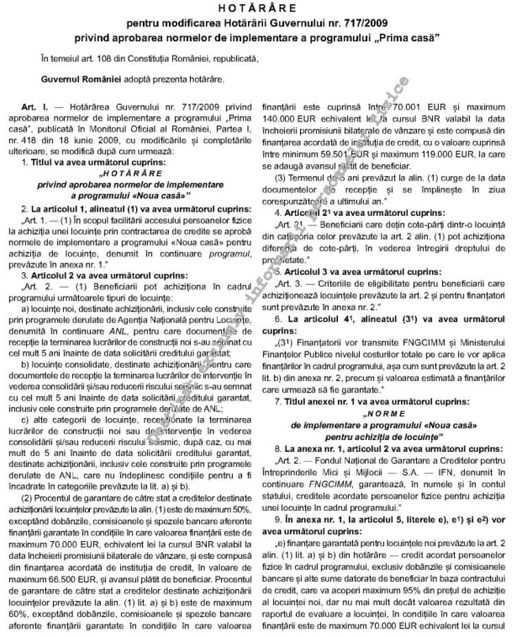 Hotărâre pentru modificarea Hotărârii Guvernului nr. 717/2009 privind aprobarea normelor de implementare a programului