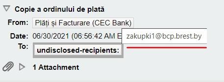 E-mailul spune ca este de la CEC Bank, dar adresa nu este a bancii